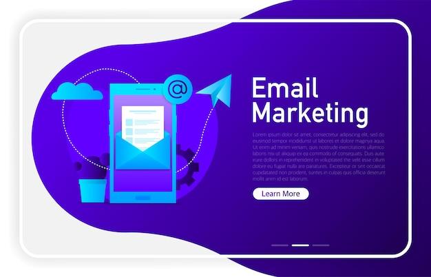 Marketing por correo electrónico en la pantalla del teléfono en color degradado oscuro. ventana del navegador. ilustración vectorial.