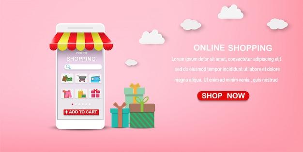 Marketing digital en la aplicación aplicación móvil, paquete, entrega y compras en línea.