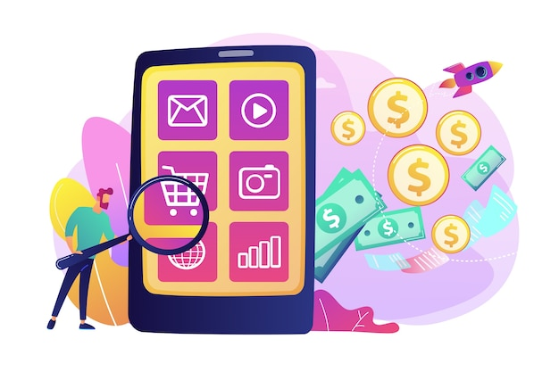 Marketing digital, comercio electrónico. comprador de carácter plano de compras en línea. monetización de aplicaciones, publicidad de aplicaciones móviles, concepto de promoción de descarga de aplicaciones.