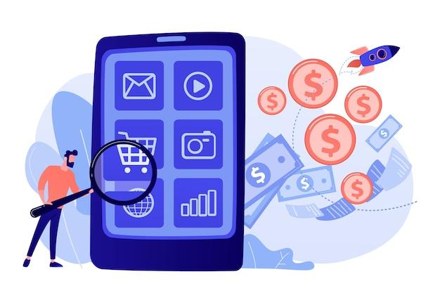 Marketing digital, comercio electrónico. comprador personaje plano comprando online