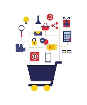 Marketing digital conjunto de iconos de línea
