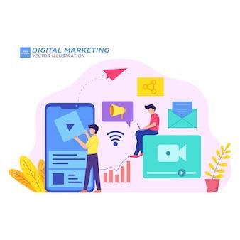 Marketing digital ilustración plana estrategia de medios netwrok promoción de gestión de redes sociales