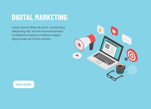 Marketing digital isométrico. portátil con icono de marketing en línea