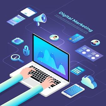 Marketing digital isometrico