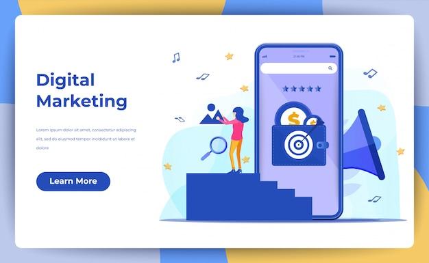 Marketing digital, medios digitales móviles y medios sociales en línea afiliados. para la página de destino web