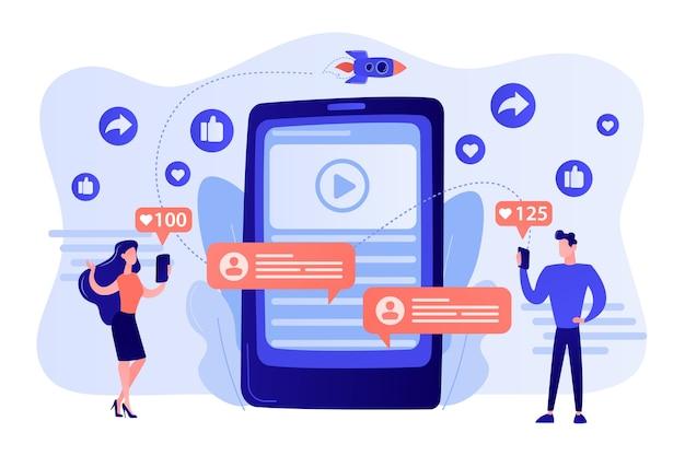 Marketing digital, publicidad online, smm. notificación de aplicaciones, chatear, enviar mensajes de texto. contenido viral, creación de memes de internet, ilustración del concepto de contenido compartido masivo