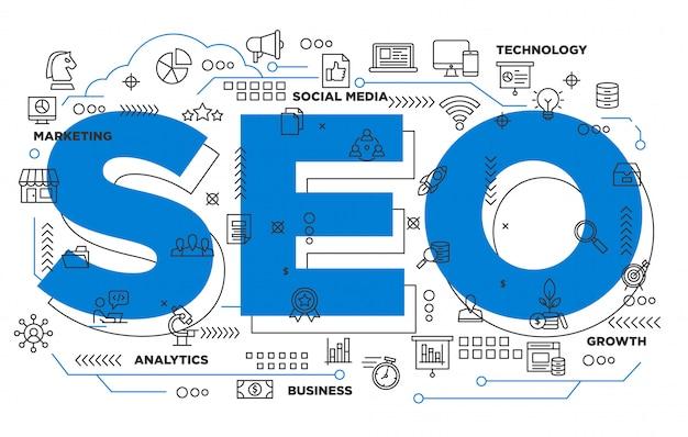Marketing digital seo fondo icónico