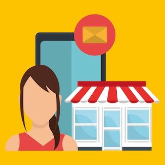 Marketing digital y ventas en línea, personaje con icono de mensaje