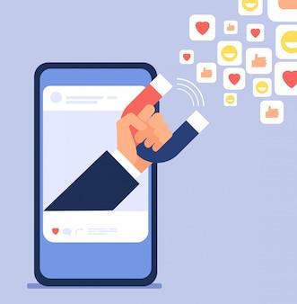 Marketing de influencia social. la mano de los bloggers que sostiene el imán arrastra a clientes. ilustración de vector de redes sociales y blogs