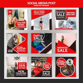 Marketing de instagram de instagram de negocios o plantilla de banner