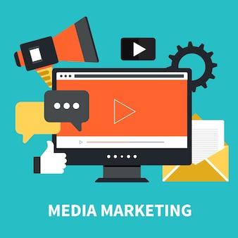 Marketing de medios y concepto de newsletter.