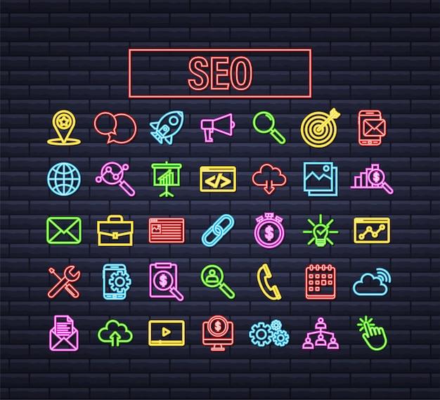 Marketing de medios sociales. gente de empresa de negocios. red de marketing. diseño de icono de vector neón. ilustración de stock vectorial.