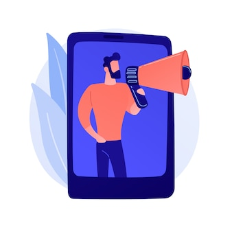 Marketing móvil, smm. publicidad en redes sociales. smartphone, aplicación, notificación. comercializadora femenina con megáfono ilustración de concepto de personaje plano