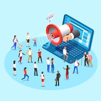 Marketing de promoción web. publicidad publicitaria de redes sociales megáfono transmitiendo anuncios de ilustración de concepto isométrico de vector de pantalla de portátil