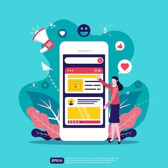 Marketing en redes sociales en dispositivos móviles con ilustración de personaje de mujer.