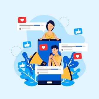 Marketing en redes sociales en estilo móvil