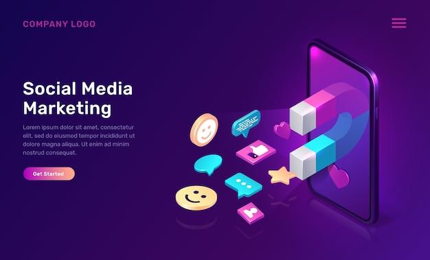 Marketing en redes sociales, mms viral isométrico