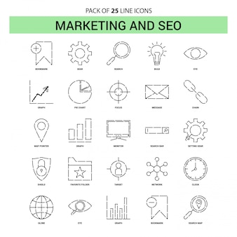 Marketing y seo line icon set - 25 estilo de contorno discontinuo