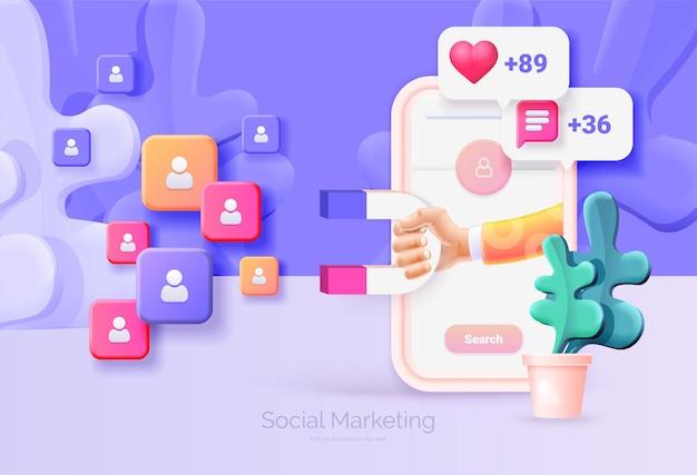Marketing social digital. teléfono móvil con ilustración 3d de interfaz de red social