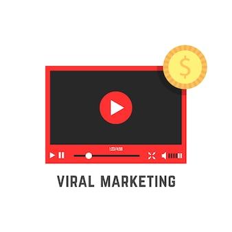 Marketing viral con reproductor de video rojo.