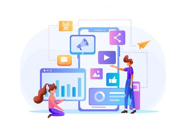 Marketing visual de datos y conceptos comerciales