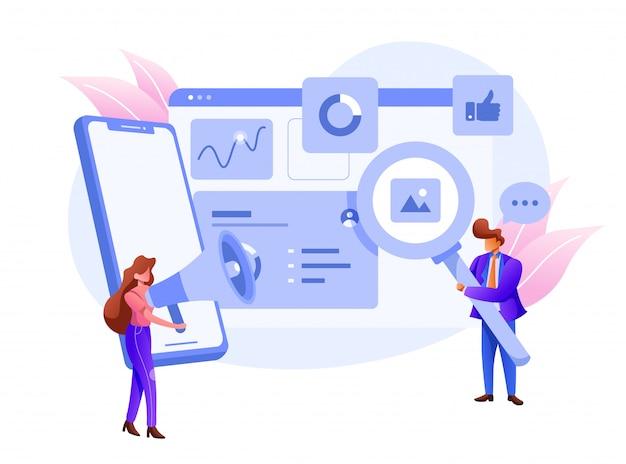 Marketing visual de datos y datos comerciales, ilustración de análisis digital