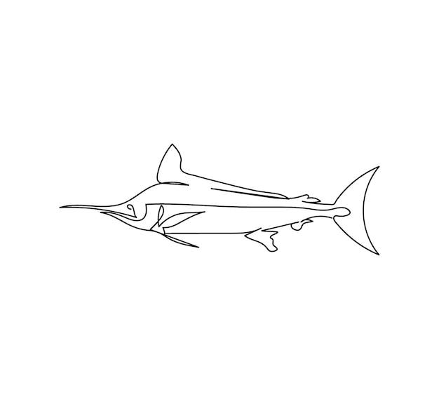Marlin pez espada atún dibujo lineal una línea de arte de peces depredadores mariscos animales marinos
