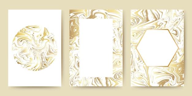 Mármol con ilustración de fondo de textura dorada de lujo para invitación y conjunto de plantillas de diseño moderno.