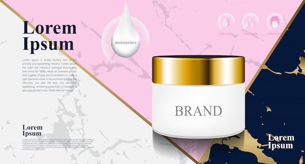 Mármol de lujo azul, rosa, gris, color para paquete de crema hidratante cosmética 3d