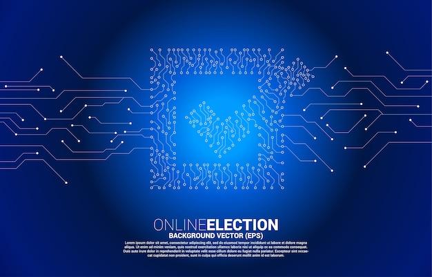 Marque el icono de la casilla del estilo de placa de circuito de línea de conexión de puntos. concepto de fondo de tema de voto electoral.