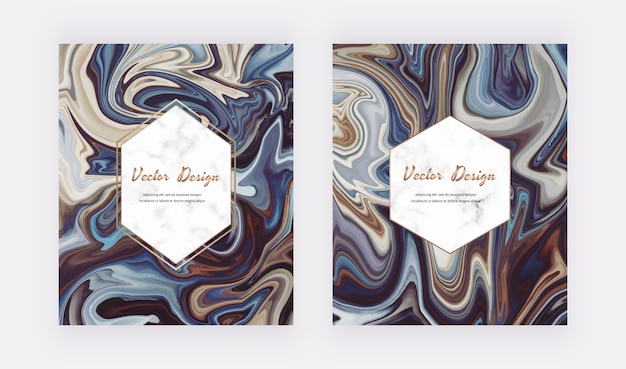 Marrón con pintura de tinta líquida azul diseño abstracto con marcos geométricos de mármol.