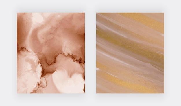 Marrón con textura de acuarela de tinta de alcohol dorado