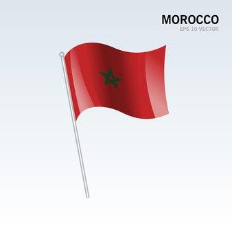 Marruecos ondeando la bandera aislado en gris