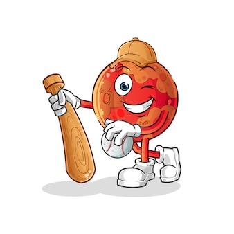 Marte jugando mascota de béisbol. dibujos animados