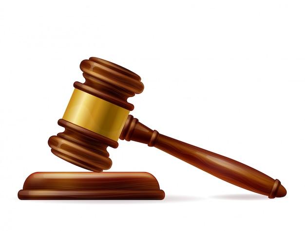 Martillo de juez marrón de madera realista