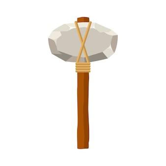 Martillo de piedra o hacha aislado sobre fondo blanco. herramienta y arma antiguas en estilo plano.
