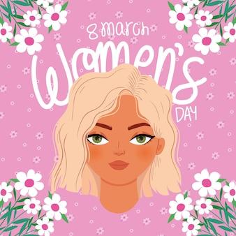 Marzo día de la mujer letras y mujer con una ilustración de cabello rubio
