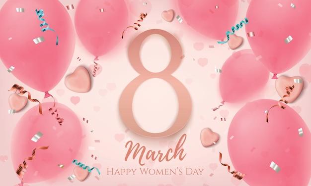 Marzo, fondo rosa del día de la mujer con corazones de caramelo, globos, konfetti y cintas. tarjeta de felicitación, folleto o plantilla de banner.