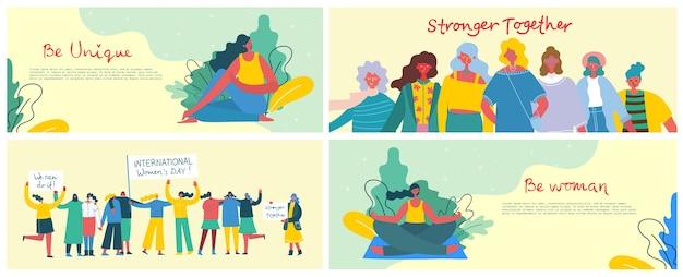 Más fuertes juntos. concepto femenino y diseño de empoderamiento de la mujer. conjunto de banners
