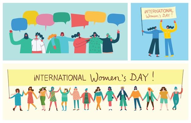 Más fuertes juntos. concepto femenino y diseño de empoderamiento de la mujer para pancartas y carteles en diseño plano