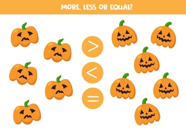 Más, menos, igual que las espeluznantes calabazas de halloween. juego educativo de matemáticas para niños.