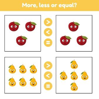 Más, menos o igual. juego educativo de matemáticas para niños en edad preescolar y escolar. frutas manzana y peras. ilustración.