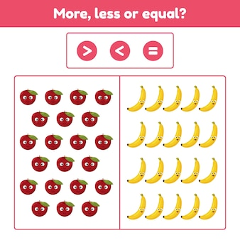 Más, menos o igual. juego educativo de matemáticas para niños en edad preescolar y escolar. frutas manzana y plátanos. ilustración.
