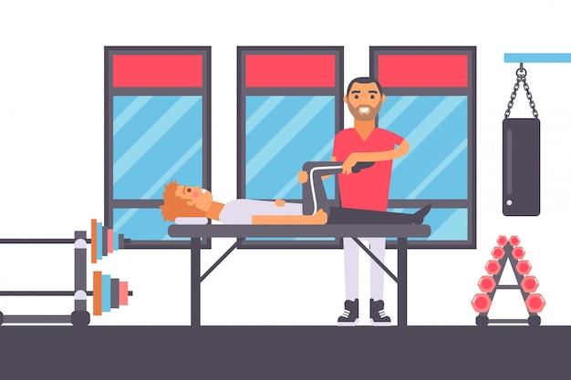 Masaje de fisioterapia para deportista lesionado gimnasio deportista rehabilitación