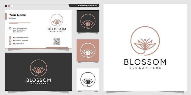 Masaje con logo de flor con estilo de arte de línea de flores y diseño de tarjeta de visita