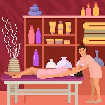 Masaje para mujer, relajarse en la ilustración del salón de spa. cuidado corporal y tratamiento de belleza, ocio para la piel y recreación.