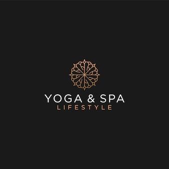 Masaje spa yoga logo tratamiento, alternativa médica tradicional lujo femenino
