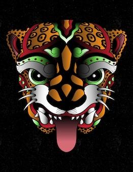 Máscara de arte azteca de ocelote
