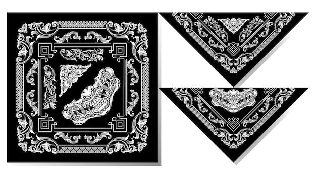 Máscara balinesa bandana en blanco y negro