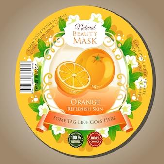 Máscara de belleza naranja etiqueta autoadhesiva